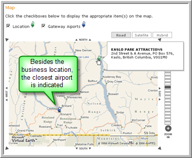 map with product location and gateway airport