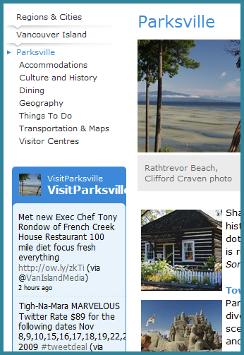 Parksville Twitter feed on HelloBC